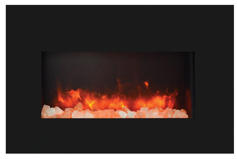 Amantii Medium Insert w/ blk gls surround, log set and ice of media Electric Fireplace Amantii