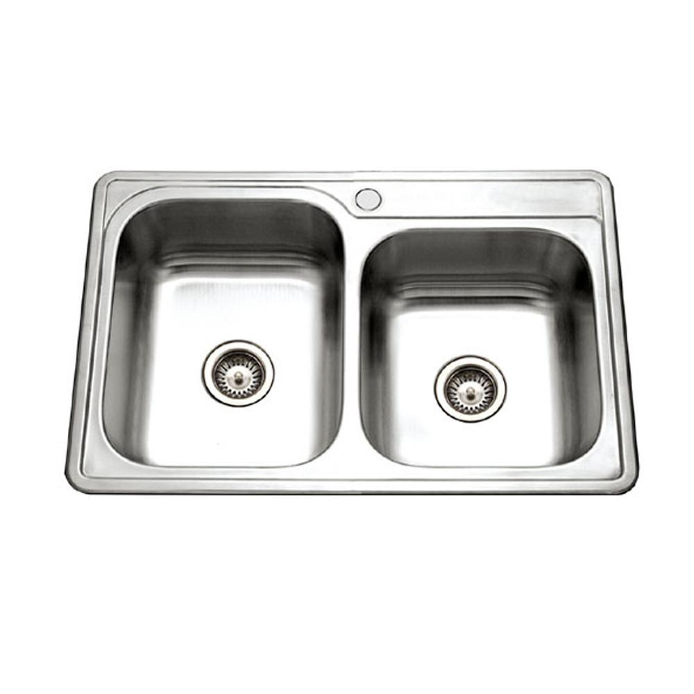 Houzer Glowtone Series Topmount Stainless Steel 1-hole 60/40 Double Bowl Kitchen Sink Kitchen Sink - Top Mount Houzer