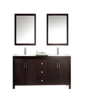 "ARIEL Hanson 60"" Double Sink Bathroom Vanity Set in Espresso"