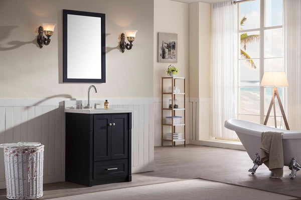 "ARIEL Adams 25"" Single Sink Bathroom  Vanity Set in Black"