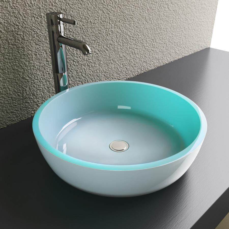 Cantrio Glass Double Layered Green Vessel SInk Glass Series Cantrio