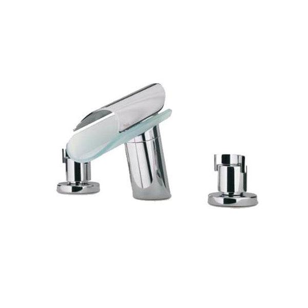 Latoscana Morgana Widespread With Glass Spout In A Brushed Nickel Finish