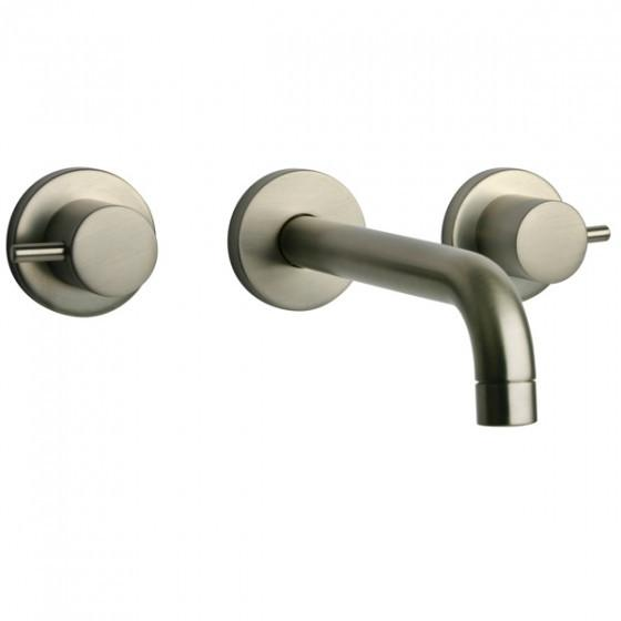 Latoscana Elba Wall Mount Lavatory Faucet In A Brushed Nickel Finish touch on bathroom sink faucets Latoscana