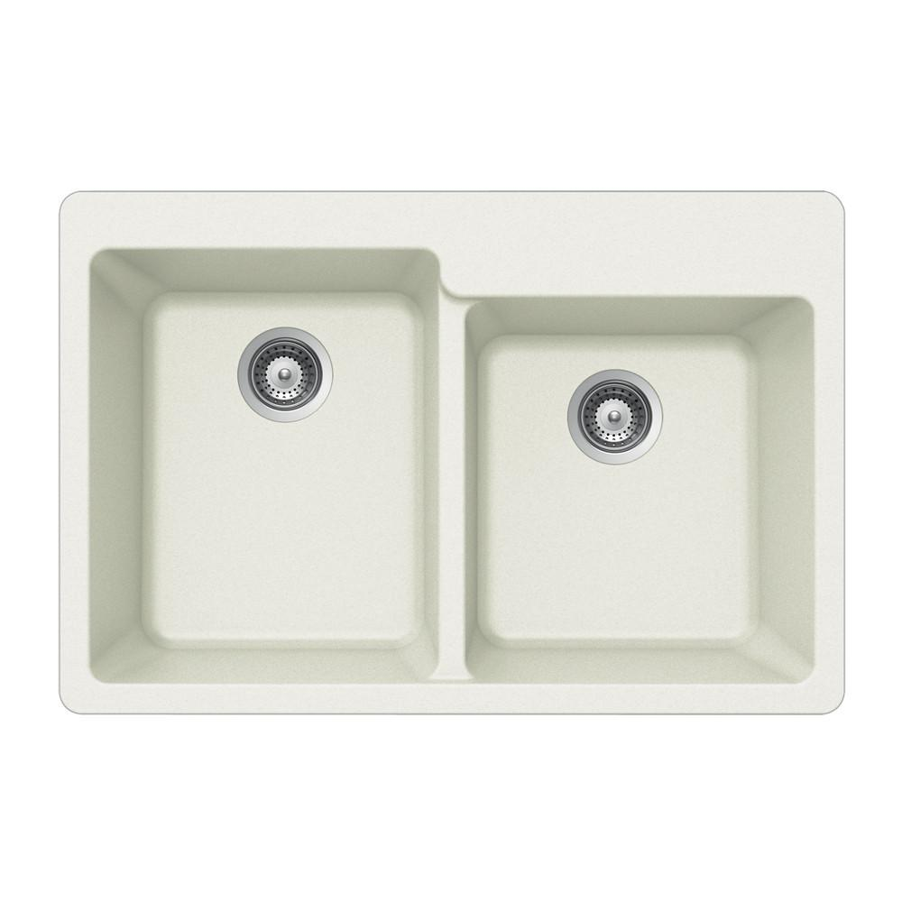 Houzer CLOUD Quartztone Series Granite Topmount 60/40 Double Bowl Kitchen Sink, White Kitchen Sink - Topmount Houzer