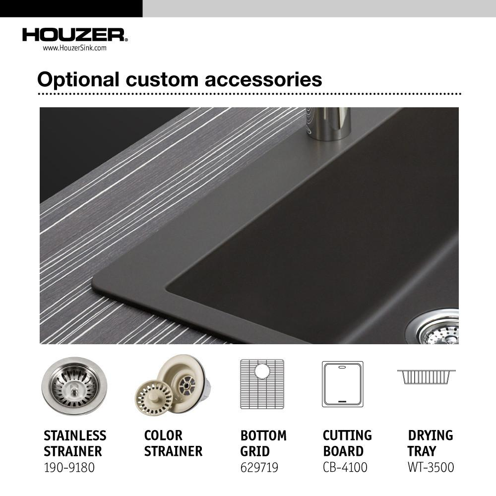 Houzer MIDNITE Quartztone Series Granite Undermount 50/50 Double Bowl Kitchen Sink, Black Kitchen Sink - Undermount Houzer
