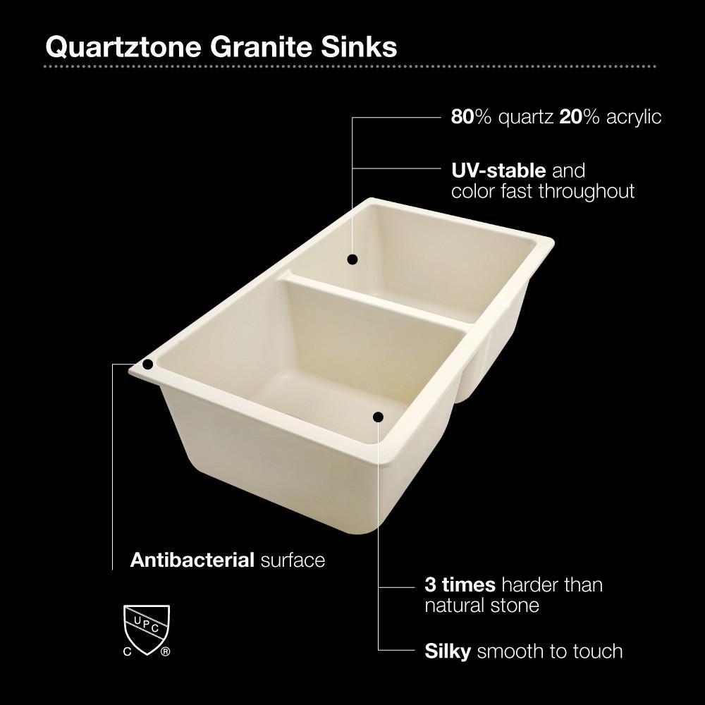 Houzer MOCHA Quartztone Series Granite Undermount 50/50 Double Bowl Kitchen Sink, Mocha Kitchen Sink - Undermount Houzer