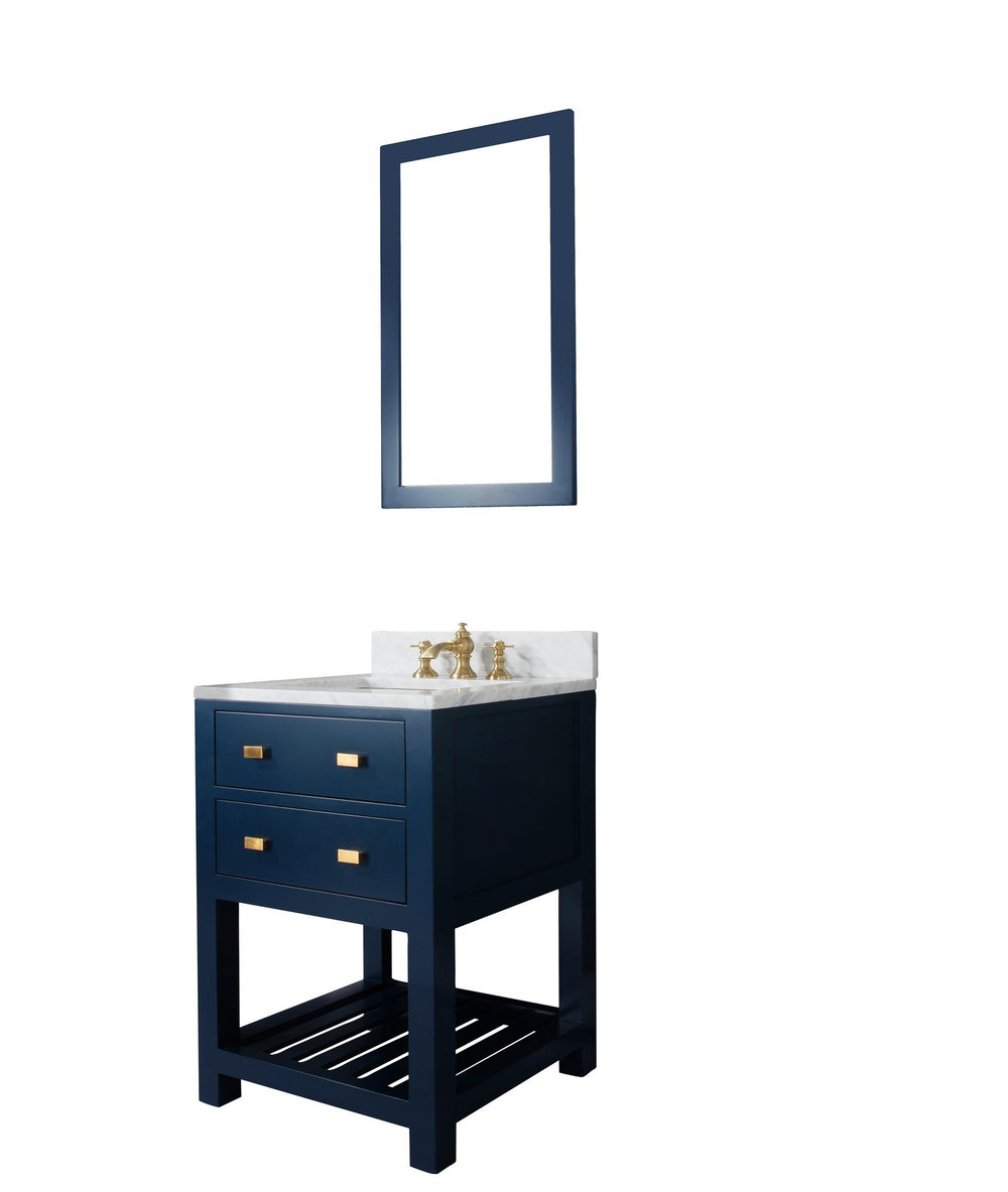 24 Inch Monarch Blue Single Sink Bathroom Vanity With F2-0013 Satin Brass Faucet And Mirror From The Madalyn Collection Vanity Water Creation