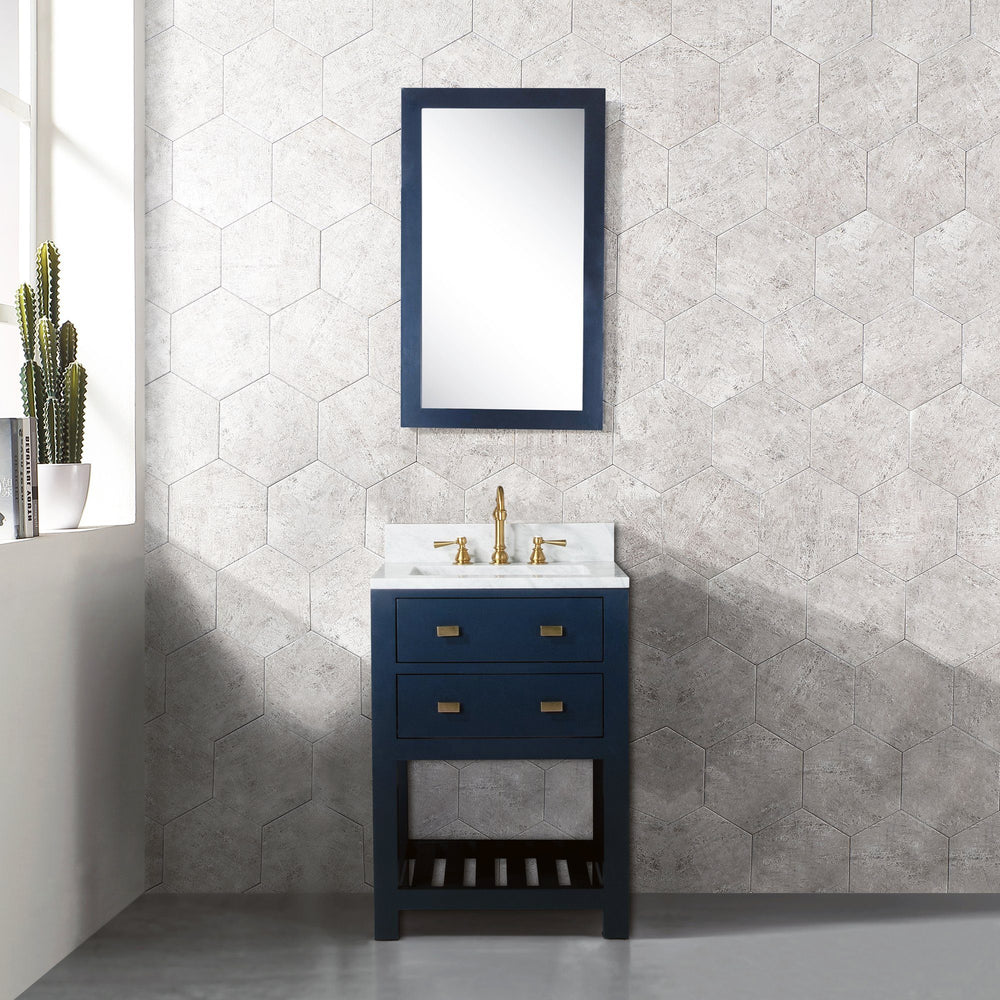 24 Inch Monarch Blue Single Sink Bathroom Vanity With Mirror From The Madalyn Collection Vanity Water Creation