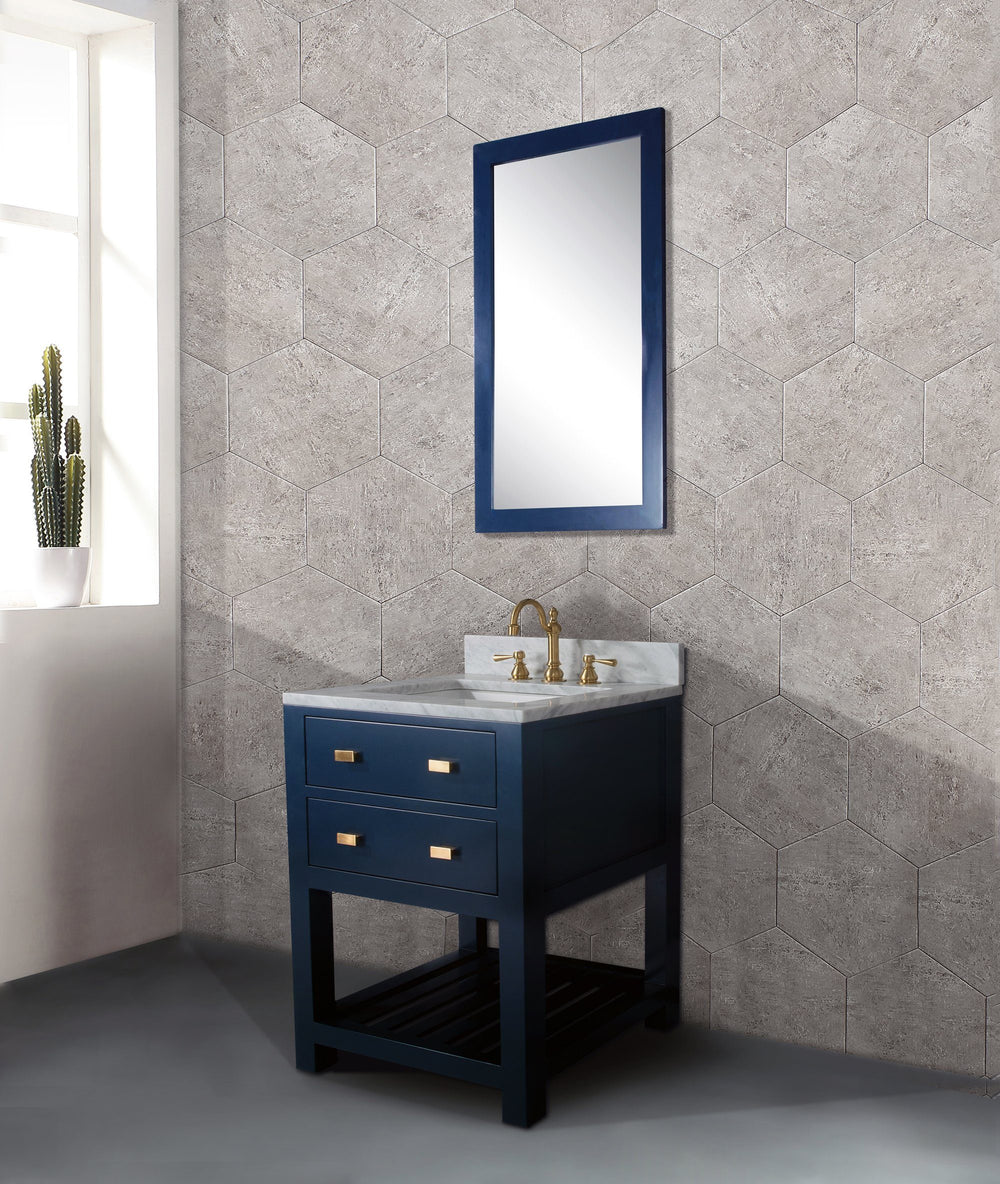24 Inch Monarch Blue Single Sink Bathroom Vanity With F2-0012 Satin Brass Faucet From The Madalyn Collection Vanity Water Creation