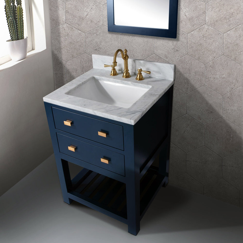 24 Inch Monarch Blue Single Sink Bathroom Vanity With F2-0012 Satin Brass Faucet And Mirror From The Madalyn Collection Vanity Water Creation
