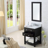 "Madalyn 24"" Espresso Single Sink Bathroom Vanity With Matching Framed Mirror And Faucet"