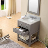 "Madalyn 24"" Cashmere Grey Single Sink Vanity With Matching Framed Mirror"