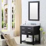 "Madalyn 30"" Espresso Single Sink Bathroom Vanity With Matching Framed Mirror And Faucet"