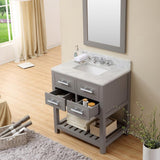 "Madalyn 30"" Cashmere Grey Single Sink Vanity With Framed Mirror And Faucet"