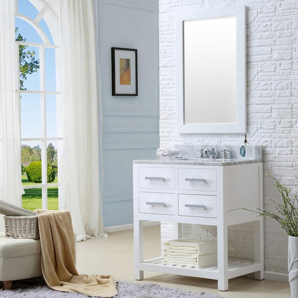 "Madalyn 30"" Solid White Single Sink Bathroom Vanity With Matching Framed Mirror"