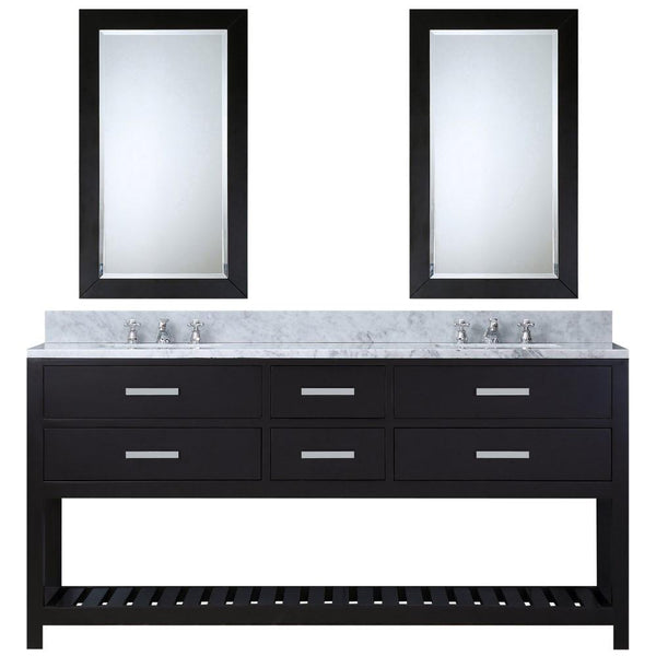 "Madalyn 60"" Espresso Double Sink Vanity With Framed Mirrors And Faucets"