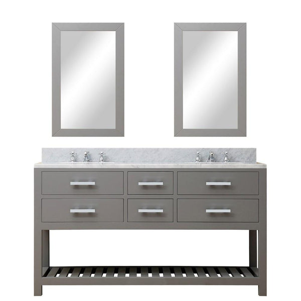 "Madalyn 60"" Cashmere Grey Double Sink Bathroom Vanity With 2 Matching Framed Mirrors And Faucets"