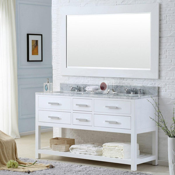 "Madalyn 60"" Solid White Double Sink Vanity With Framed Mirror And Faucet"