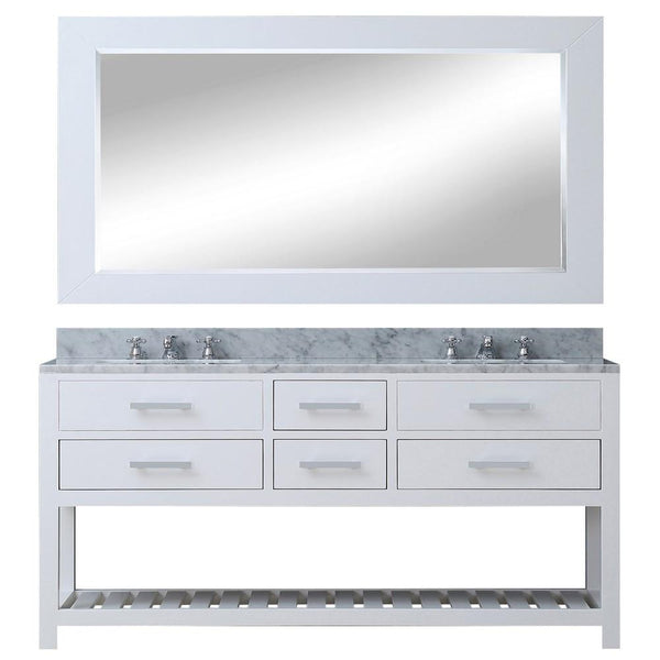 "Madalyn 72"" Solid White Double Sink Vanity With Matching Large Framed Mirror"