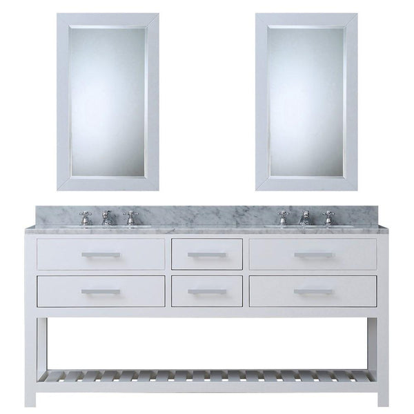 "Madalyn 72"" Solid White Double Sink Bathroom Vanity With 2 Matching Framed Mirrors And Faucets"