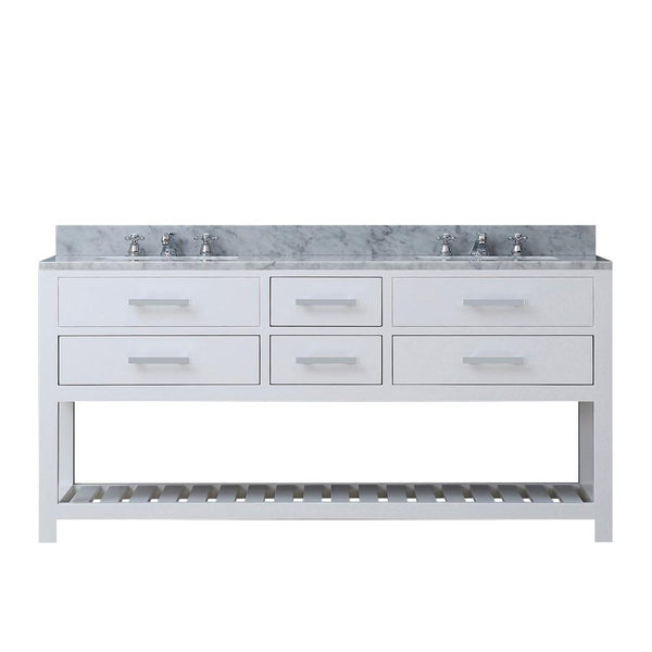 "Madalyn 72"" Solid White Double Sink Bathroom Vanity Only"