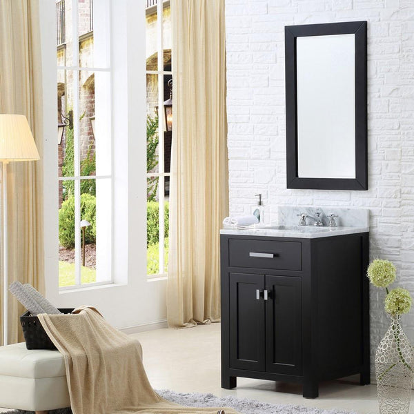 "Madison 24"" Espresso Single Sink Bathroom Vanity With Matching Framed Mirror"