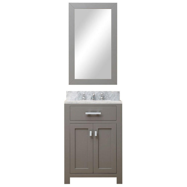 "Madison 24"" Cashmere Grey Single Sink Vanity With Framed Mirror And Faucet"