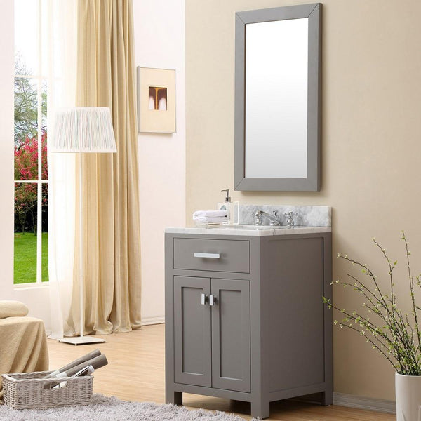 "Madison 24"" Cashmere Grey Single Sink Bathroom Vanity With Matching Framed Mirror"