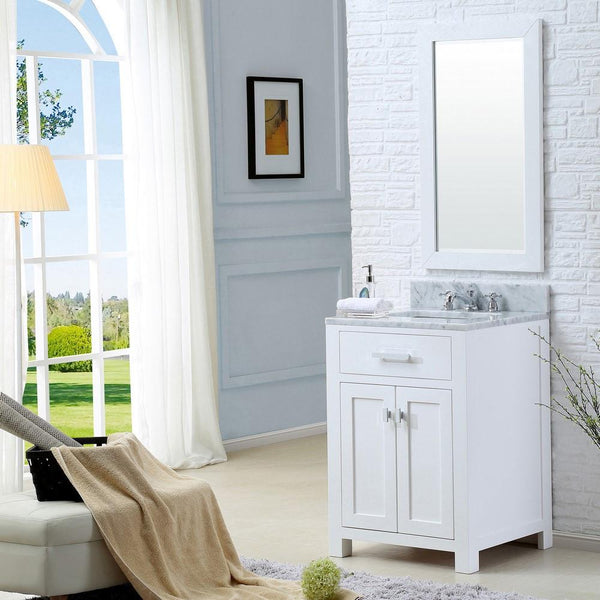 "Madison 24"" Solid White Single Sink Bathroom Vanity And Faucet"