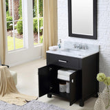 "Madison 30"" Espresso Single Sink Bathroom Vanity With Matching Framed Mirror And Faucet"
