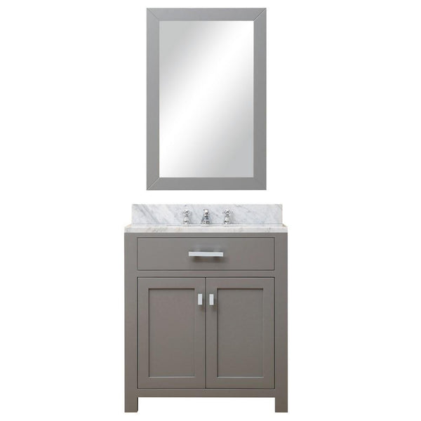 "Madison 30"" Cashmere Grey Single Sink Bathroom Vanity With Matching Framed Mirror"