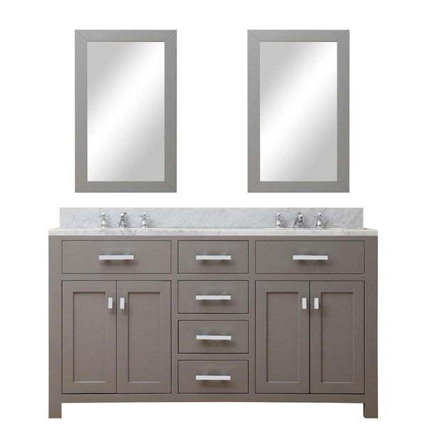 "Madison 60"" Cashmere Grey Double Sink Bathroom Vanity With 2 Matching Framed Mirrors And Faucets"