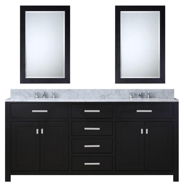 "Madison 72"" Espresso Double Sink Bathroom Vanity With 2 Matching Framed Mirrors And Faucets"
