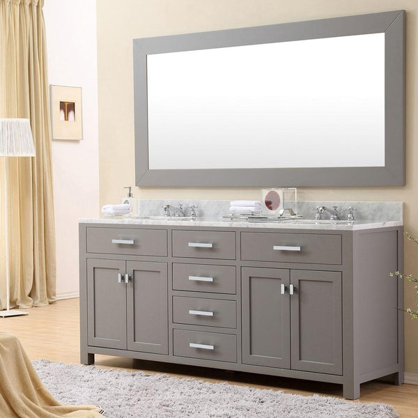 "Madison 72"" Cashmere Grey Double Sink Bathroom Vanity With Matching Framed Mirror And Faucet"