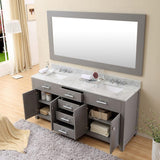 "Madison 72"" Cashmere Grey Double Sink Vanity With Framed Mirror And Faucet"