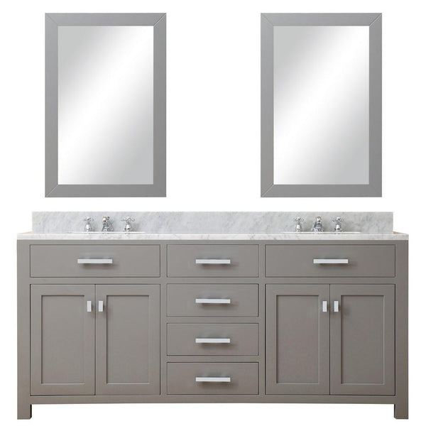 "Madison 72"" Cashmere Grey Double Sink Bathroom Vanity With 2 Matching Framed Mirrors"
