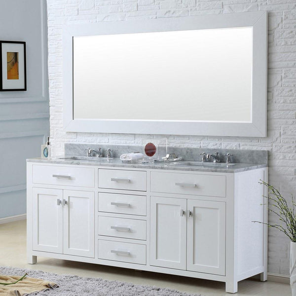 "Madison 72"" Solid White Double Sink Bathroom Vanity With Matching Large Framed Mirror"