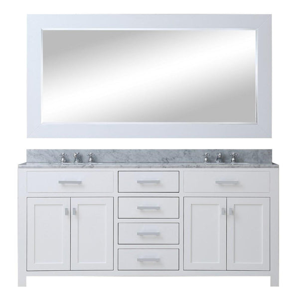"Madison 72"" Solid White Double Sink Bathroom Vanity With Large Framed Mirror"