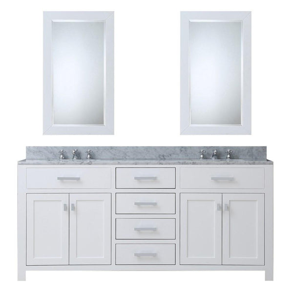 "Madison 72"" Solid White Double Sink Bathroom Vanity With 2 Matching Framed Mirrors"