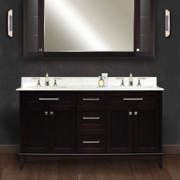 "Manhattan 60"" Dark Espresso Double Sink Bathroom Vanity Only"