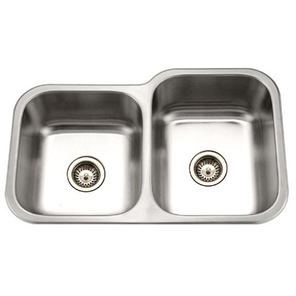 Houzer Medallion Classic Series Undermount Stainless Steel 60/40 Double Bowl Kitchen Sink, Small Bowl Left Kitchen Sink - Undermount Houzer