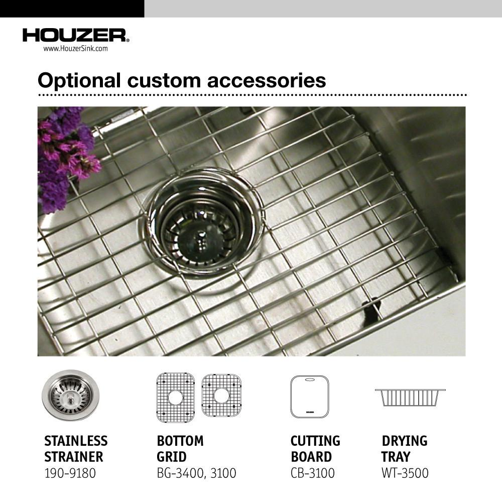 Houzer Medallion Classic Series Undermount Stainless Steel 60/40 Double Bowl Kitchen Sink, Small Bowl Right Kitchen Sink - Undermount Houzer
