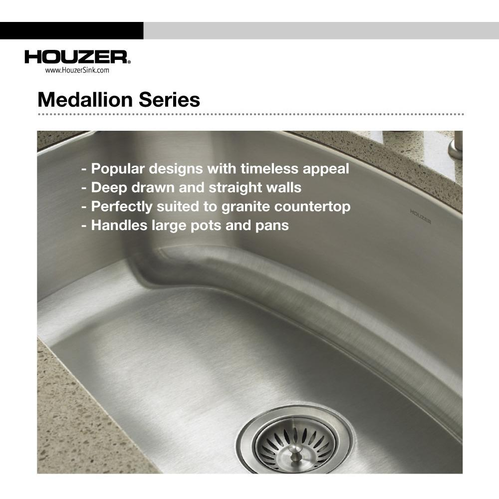Houzer Medallion Designer Series Undermount Stainless Steel 70/30 Double Bowl Kitchen Sink, Small Bowl Right Kitchen Sink - Undermount Houzer