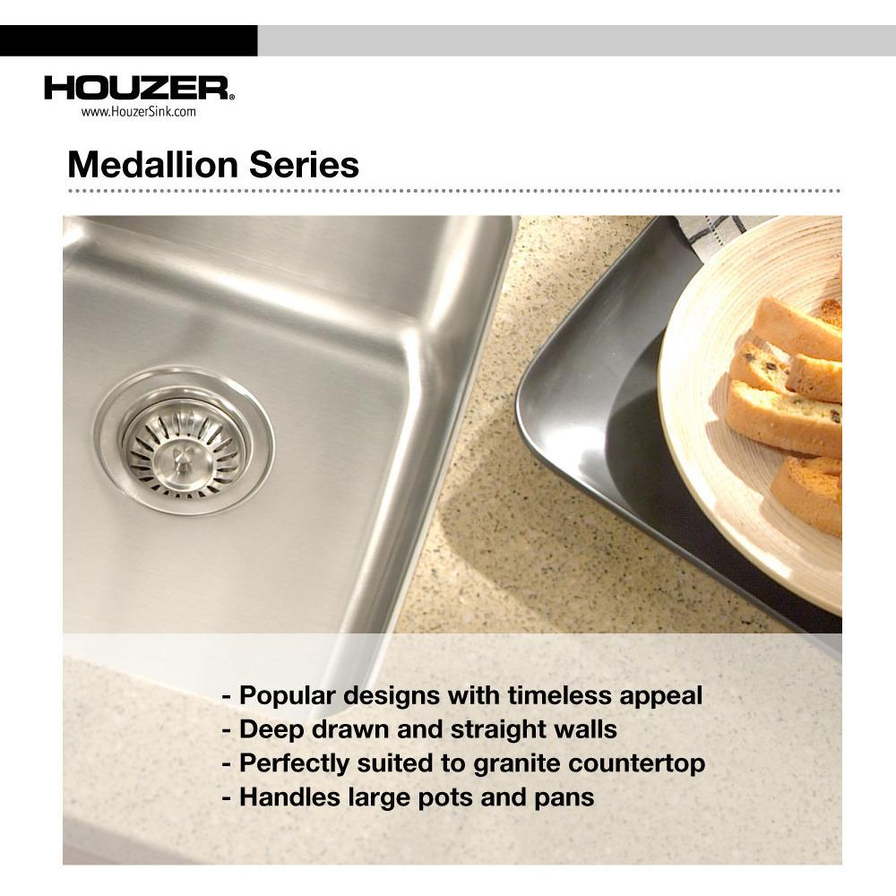 Houzer Medallion Gourmet Series Undermount Stainless Steel 50/50 Double Bowl Kitchen Sink Kitchen Sink - Undermount Houzer