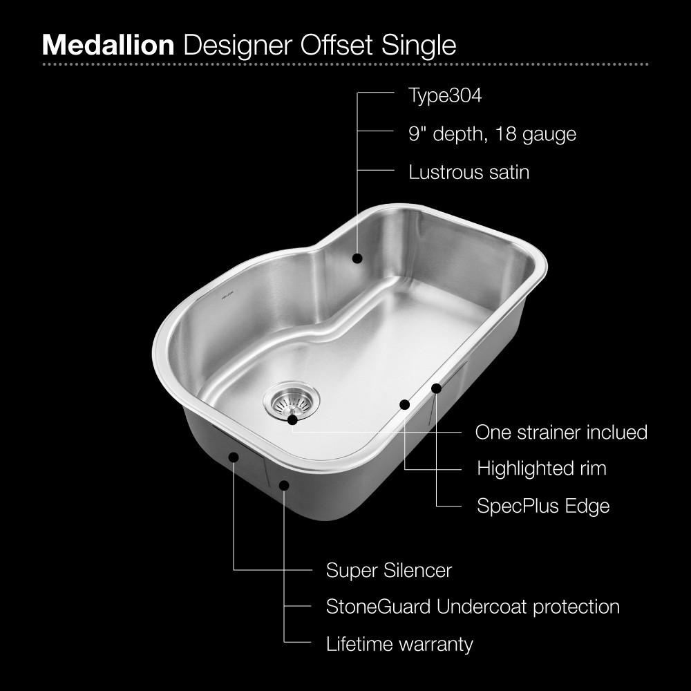 Houzer Medallion Gourmet Series Undermount Stainless Steel Offset Single Bowl Kitchen Sink Kitchen Sink - Undermount Houzer