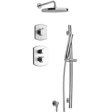 Latoscana Novello Thermostatic Valve Shower System Option 3 In Brushed Nickel bathtub and showerhead faucet systems Latoscana