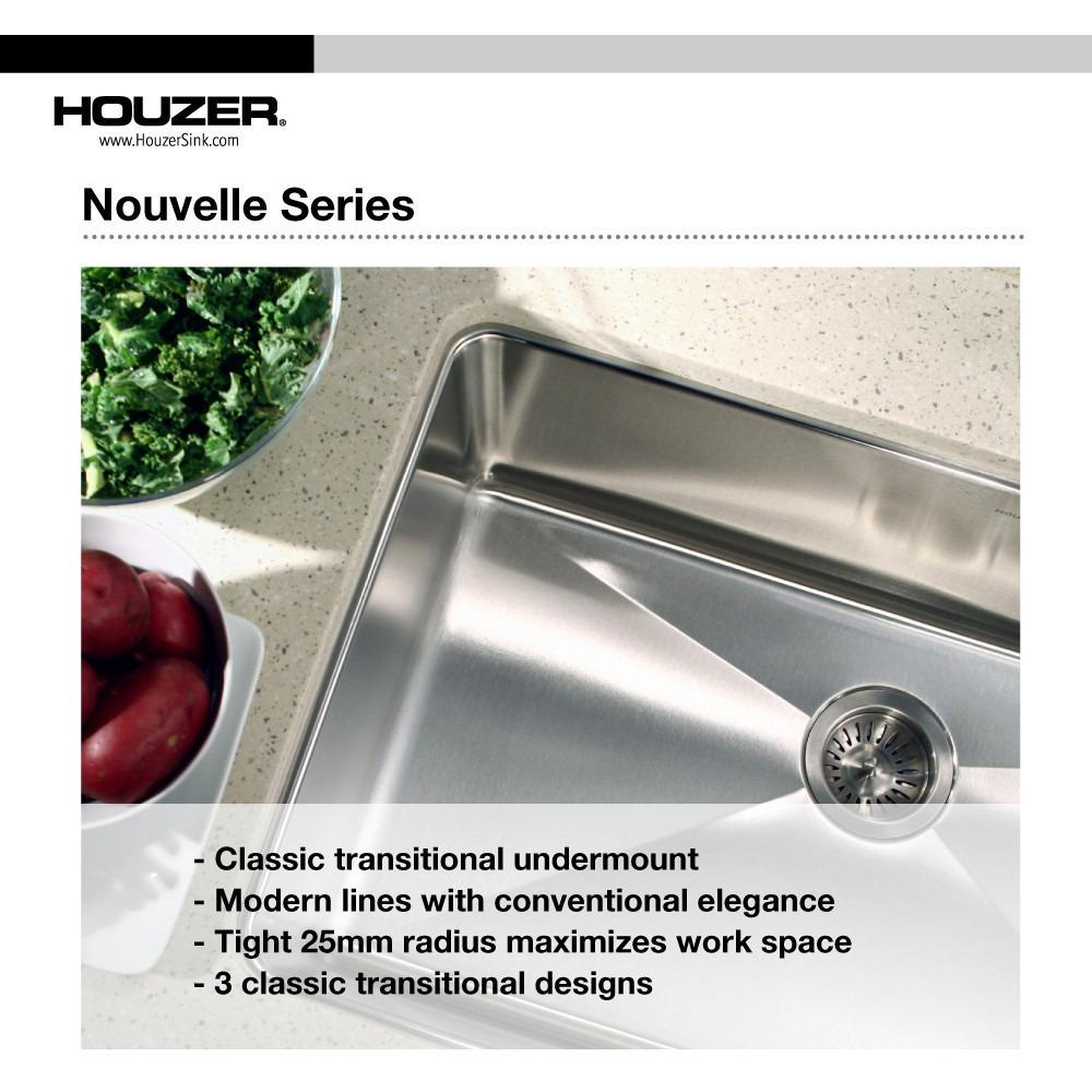 Houzer Nouvelle Series 25mm Radius Undermount Stainless Steel Large Single Bowl Kitchen Sink Kitchen Sink - Undermount Houzer