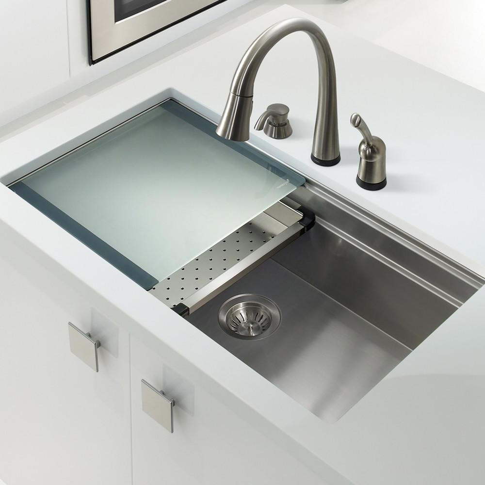 Houzer Novus Series Dual Level Undermount Stainless Steel Large Single Bowl Kitchen Sink with Sliding Platform Kitchen Sink - Undermount Houzer