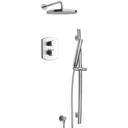 Latoscana Novello Thermostatic Valve Shower System Option 2 In Brushed Nickel bathtub and showerhead faucet systems Latoscana