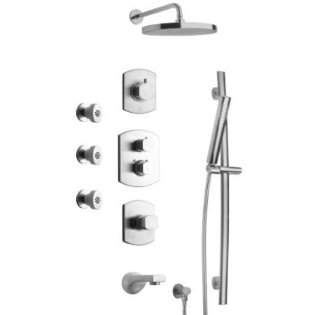 Latoscana Novello Thermostatic Valve Shower System Option 8 In Brushed Nickel bathtub and showerhead faucet systems Latoscana